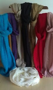 BNWT Long Soft Knitted Scarves in a Variety of  Colours L 180 cm x W 25 cm