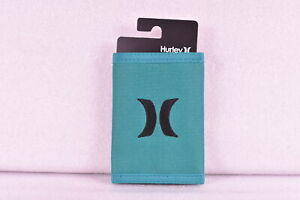 Hurley Honor Roll Tri - Fold Wallet w/ Centered Logo, Teal Green & Black
