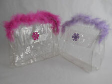2X Clear Vinyl Hand Bag Jelly Plastic Makeup Purse See Thru Shopping Tote