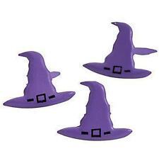 8 Witch Hat Brads Scrapbooking New Halloween Purple