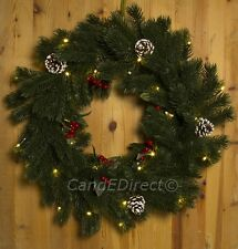 Large Christmas 56cm Frosted  Pine Faux Topiary Door Wreath Warm White LED's NEW