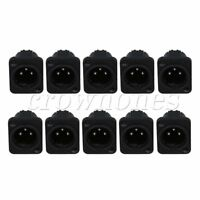 10pcs XLR 3pin Male Jack Panel Mount Chassis PCB Socket Connector Black