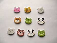 10 Wooden Buttons Various Animals - 2 holes,flat back, Sewing,Scrapbooking, etc