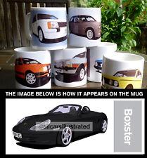 PORSCHE BOXSTER CAR ART MUG. CHOOSE YOUR CAR COLOUR. ADD YOUR REG PLATE!