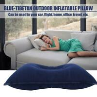 Inflatable PVC And Nylon Pillow Soft Air Blow up Sleep Cushion Camping Z9U5