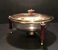 Vintage MCM Pyrex Covered Warming Stand Brass Wood Clear 3 Qt Casserole Dish 595