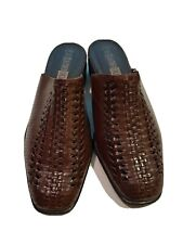 Vintage Leather Collection Brown Woven Leather Casual Mules Womens Sz 11 W