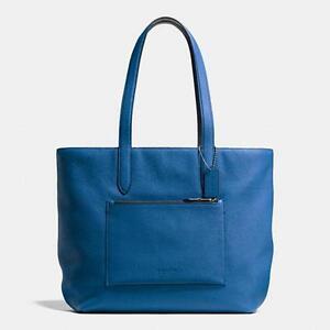 NWT Coach Metropolitan Soft Tote in Pebble Leather Denim Blue F72299
