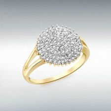9 Carat Cluster Excellent Cut Yellow Gold Fine Diamond Rings
