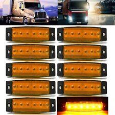 10x AMBER 6LED Side Marker Indicator Clearance Lights Lamp Truck Trailer Car 12V