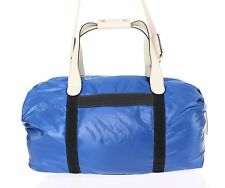 NEW $1300 DOLCE & GABBANA Blue Nylon Duffle Bag Leather Travel Gym Hand Shoulder