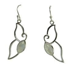 Pair of Sterling Silver Butterfly Earrings with Rainbow Moonstone EARRSDE-502987