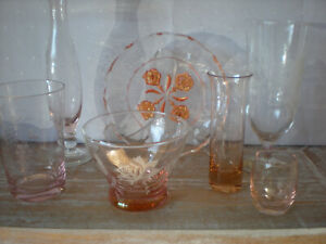 Collection of Pretty Pink Vintage Glass Items - Plate, Vases, Bowl, Glass