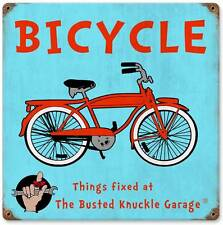 Busted Knuckle Garage Vintage Bicycle Retro Metal Sign Man Cave Body Shop BUS077
