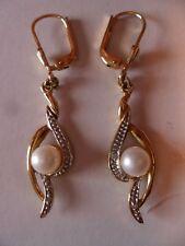 Perlen Ohrringe Ohrhänger 333/8K Gelbgold Klappbrisur Gewicht 3g Länge 4,5 cm