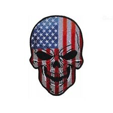 "(A42) American Flag Skull 3"" x 4.25"" iron on patch (5666) Biker Vest Craft"