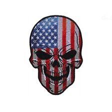 "(A42) AMERICAN FLAG SKULL 3"" x 4.25"" iron on patch (5666) Biker Vest Craft"