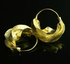 "Small Fulani brass hoop earrings ""kwotene kange"" Peul. African (7/8"" wide)"