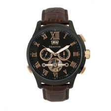 Heritor Automatic Hudson Semi Skeleton Brown Leather Black Watch w/ Date HR7506
