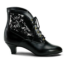 "2"" Black Lace Victorian Ankle Steampunk Low Granny Boots Shoes size 8 9 10 11"