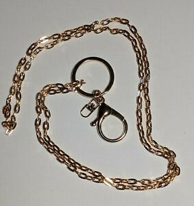 """Lanyard Gold Color Chain with Easy Open Large Lobster Claw 36 """" Lightweight"""