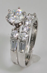 75 ct Ring and Band Top Russian Quality CZ Extra Brilliant Solid Silver Sz. 9