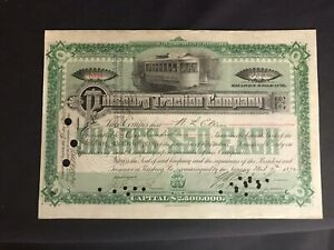 Vintage 1892 Pittsburg Traction Company Certificate 100 Shares