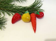 Set of 4 Vegetables Christmas Glass Ornaments USSR Christmas tree Decorations