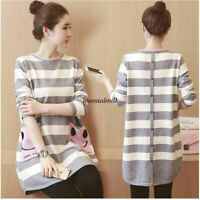 Autumn New Maternity Women Long Sleeve Striped Tunic Pregnancy T Shirt Dress Top