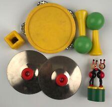 Lot instruments de musique vintage,Tambourin, maracas, cymbales, jouet poussoir
