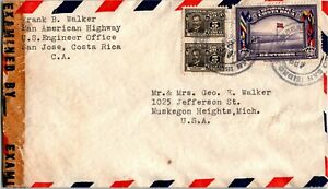 Costa Rica Postal History: LOT #5 1943 Censored Air SOCCER to MICHIGAN $$$