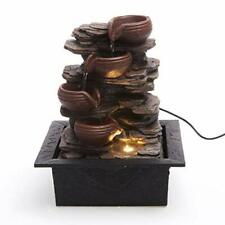 Cascading Bowls on Rocks Formation Indoor Water Fountain with LED Light   Size