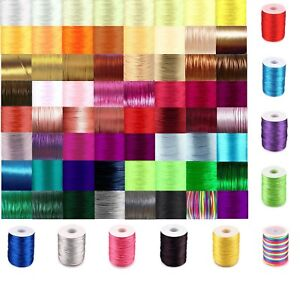 Silky Satin Rattail 2mm Cord Macrame Nylon Thread  Kumihimo Shamballa 80 colours