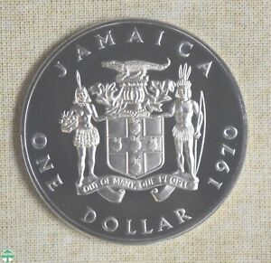 1970 JAMAICA ONE DOLLAR - PROOF - CATALOG# KM 50 - COPPER-NICKEL