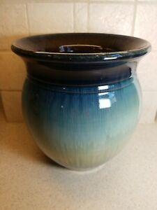 "Bill Campbell American Art Pottery Large Blended Glaze Multi Color Planter 9.5"""