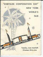 NM-095 Chrysler Corporation Day, New York World's Fair Program Menu 1939 RARE