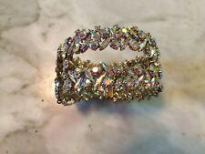 Vtg '50 aurora borealis rhinestone crystal SHERMAN rigid cuff bracelet