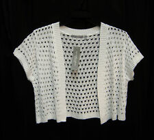 WHITE OPEN FRONT/WEAVE KNIT CROCHET CROP CARDIGAN JACKET SWEATER SHRUG TOP~1X~NW
