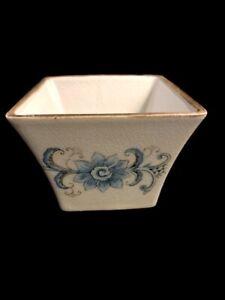 Blue Floral Glazed Square Ceramic Flow Pot Or Decorative Bowl