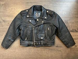 Boys unik International leather jacket vintage Size medium RARE Halloween Biker