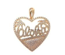 rosa placcato oro argento 925 HAWAIANO ALBERO DI PALMA ALOHA ciondolo a cuore