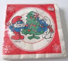 Vintage Smurf Christmas Luncheon Napkins 1982 Peyo Smurfs Decorating Tree