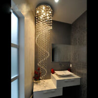 Crystal Chandelier Pendant Ceiling Lamp Light Rain Drop Spiral Lighting