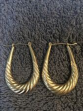 Antique 9ct gold earrings hoops Weight 2 grams   Length 1 1/2 Inch Width 1inch