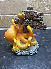 Aquarium Fish Tank Ornament Orange Squid Octopus No fishing Sign