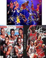 Michael Jordan Kobe LeBron James Pippen Basketball Signed Autograph 3 A4 Poster