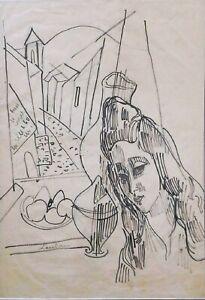 Zygmunt Landau: Girl at the Window 1950s / French Polish Jewish School of Paris