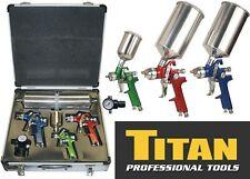 Titan 19221 4 Piece HVLP Color-Coded Triple Set-Up Spray Gun Kit with Case New