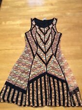 BAR III Pink Ivory Floral Lace Black Lines Tank Flare DRESS Stretch Lined size S