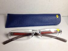 Mens's Reading Glasses +1.25 Gray & Red Plastic Rimless Readers With Case #PRT24